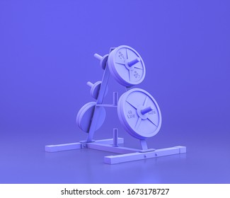 body build gym equipments,  in monochrome blue color background, halter weight,3d Rendering, power line
