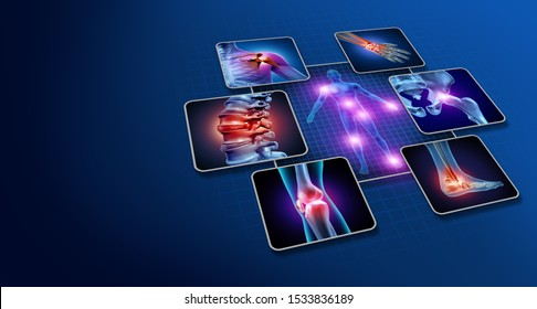 Body joint pain concept as human skeleton and muscle anatomy of the body with a group of sore joints as a painful injury or arthritis illness symbol for health care with 3D illustration elements.
