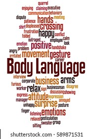 Body Language, word cloud concept on white background.