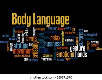 Body Language, word cloud concept on black background.