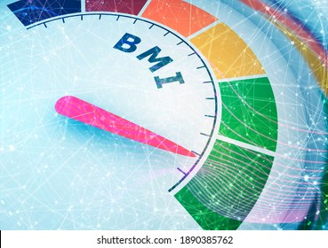 Body mass index meter read level result. Color scale with arrow from red to green . The measuring device icon. Colorful infographic gauge element. 3D rendering
