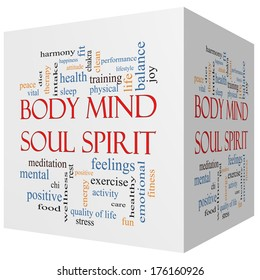 Body Mind Soul Spirit 3D cube Word Cloud Concept with great terms such as harmony, life, sleep, fit and more.