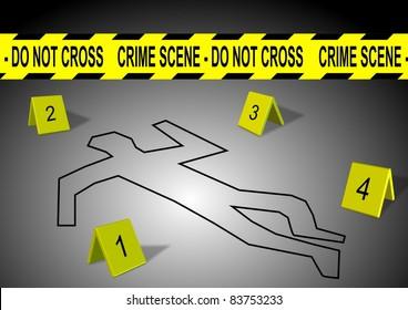 A body outline with crime scene tape and numbers / Crime scene
