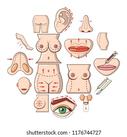 Body parts icons set. Cartoon illustration of 16 body parts icons for web