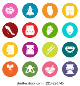 Body parts icons set colorful circles isolated on white background