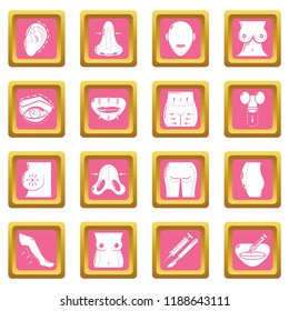 Body parts icons set pink square isolated on white background
