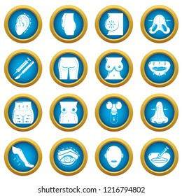 Body parts icons set. Simple illustration of 16 body parts icons for web
