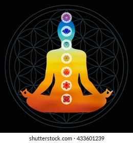 Body silhouette with chakra icons doing yoga pose, colorful blur gradient design on flower of life sacred geometry background.