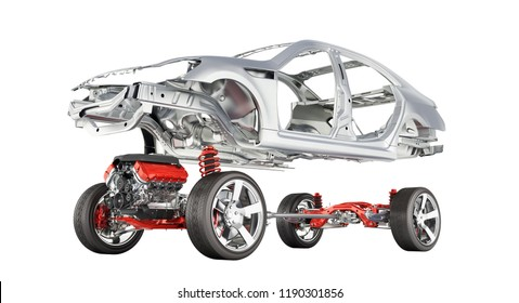 Body and suspension of the car with wheel and engine Undercarriage with bodycar in detail isolated on white gradient background 3d without shadow
