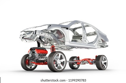 Body and suspension of the car with wheel and engine Undercarriage with bodycar in detail isolated on white gradient background 3d
