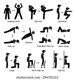 Body Workout Exercise Fitness Training (Set 1) Stick Figure Pictogram Icons