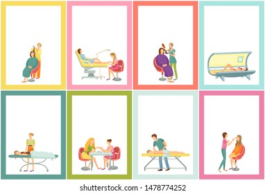 Body wrap and manicure tanning woman using solarium sunroom. Posters set with place for text sample and chocolate care, massage and visage, manicurist raster