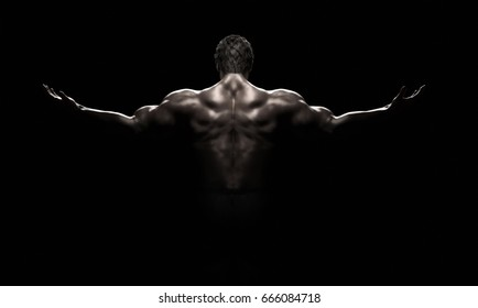 Bodybuilder in a challenging position on a black background. Fitness muscled man. This is a 3d render illustration