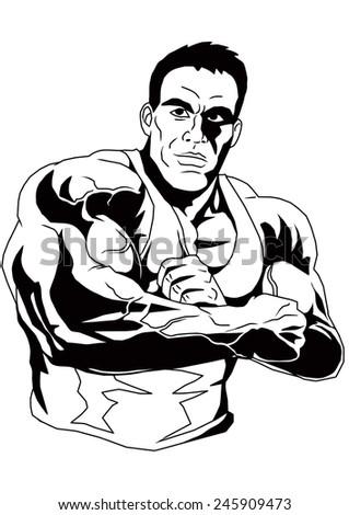 Bodybuilder Clasped Handsillustrationblack Whitedrawingoutline Stock
