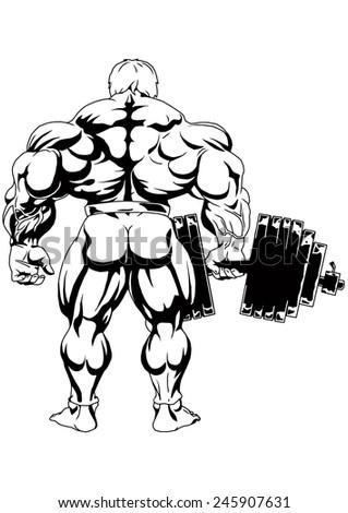 Bodybuilder Dumbbell One Hand View Backillustrationblack Stock