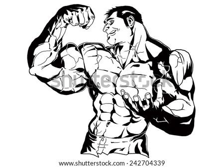 Bodybuilder Posing Shows Bicepsillustrationblack Whitedrawingoutline