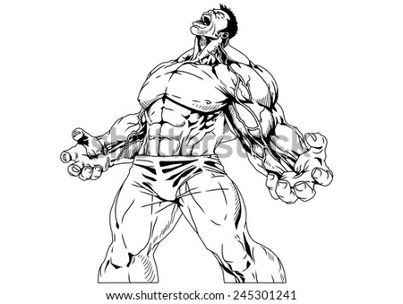 Royalty Free Stock Illustration Of Bodybuilder Powerful Muscles