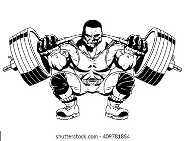 bodybuilder sports,illustration,logo,ink,black and white,outline,isolated on a white