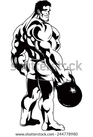 Royalty Free Stock Illustration Of Bodybuilder Stands Sideways Holds