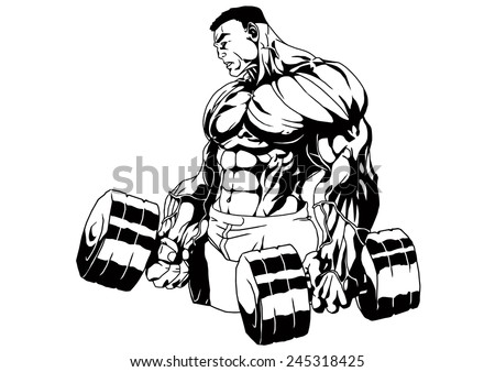 Bodybuilder Trains Two Heavy Dumbbellsillustrationblack