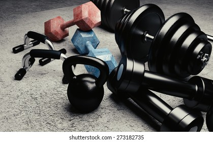 Bodybuilding equipment illustration with kettlebells, dumbbells and push up handles.