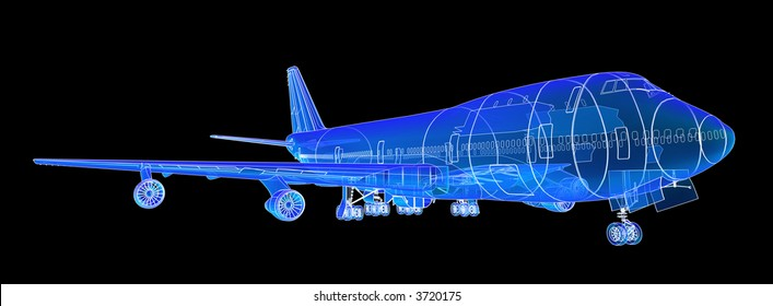 Boeing 747 Blueprint Rendering.