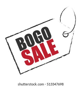 BOGO Sale, Buy 1 Get 1 Sale Tag Infographics Sign or Icon Isolated on White Background