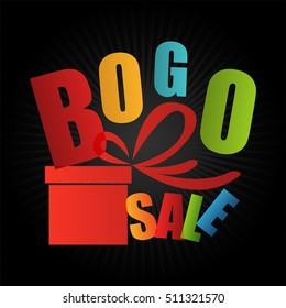 BOGO Sale Buy One Get One Free Sign or Icon