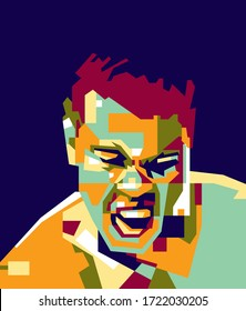 Bogor, Indonesia - May 04 2020 : Muhammad Ali the boxing legends in wpap
