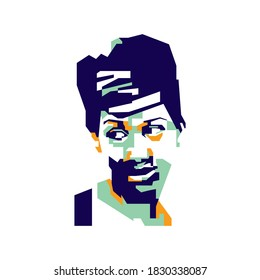 Bogor, Indonesia - Oktober 09 2020 :  Simple abstract geometric of the legendary American soul singer Aretha Franklin. In WPAP Popart Illustration Style.