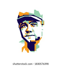 Bogor, Indonesia - Oktober 10 2020 :Babe Ruth was an Legendary American baseball outfielder and pitcher. In abstract geometric WPAP Style.