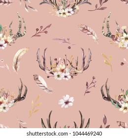 Bohemiamn seamless pattern of watercolor floral boho antler print. western boho decoration. Hand drawn vintage deer horns with flowers, leaves and herbs. Eco style wildlife