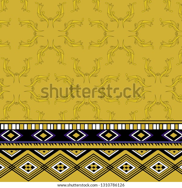 Bohemian Geometric Baroque Elements Design Border Stock Illustration 1310786126