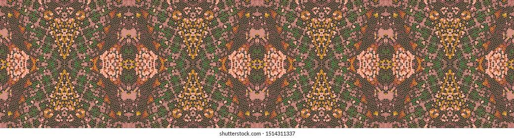 Bohemian Print. Mustard Repeat Retro Texture. Rosy Brown Abstract Element. Dark Green Polynesian Background. Vintage Patchwork. Caramel Bohemian Print.