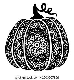 Bohemian Pumpkin. Harvesting silhouette symbol. Vegetable digital stamp. Pumpkin dishes icon.