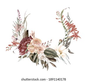 Boho burgundy wreaths clipart, Watercolor blush and burgundy wedding flowers, Wedding invitation arrangements, valentines, floral posters, wedding floral wreaths