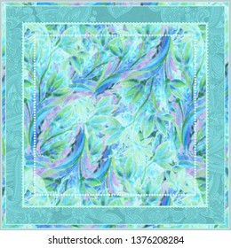 Boho chic digital pattern of floral motifs for scarf. Flourish tirquoise elements . Fairytale nature style. Rustic elegant design for surfaces