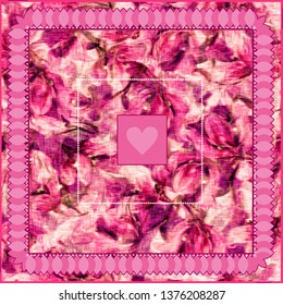 Boho chic digital pattern of floral motifs for scarf. Flourish pink elements . Fairytale nature style. Rustic elegant design for surfaces