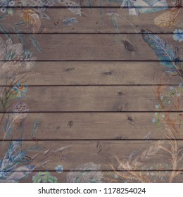 Boho Chic Fall Wood Background with Flowers and Feathers Vintage plank texture with scratched watercolor tribal illustrations for thanksgiving scrapbooking and design