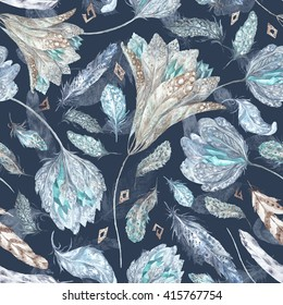 Boho  Chic  Watercolor Pattern   Seamless texture with feathers, flowers and crystals isolated on dark blue background for textile and wallpaper design