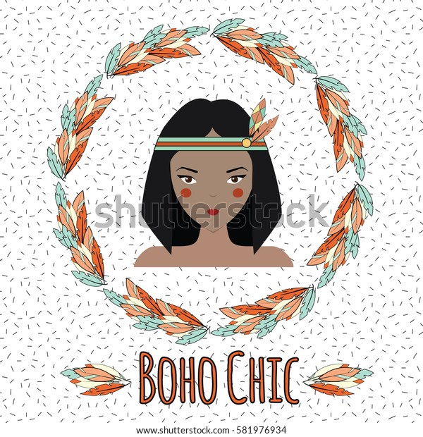 Boho indian girl and feather wreath in hand drawn style. Tribal, ethnic boho chic inspirational illustration