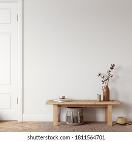 Boho interior style Wall mockup Wall art 3d rendering 3d illustration