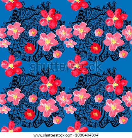65d150b209877a Watercolor botanical seamless pattern. Japanese cherry blossom swimwear  print. Bohemian retro