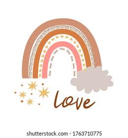 Boho rainbow Kids pastel rainbow. Boho wall art element Doodle rainbow Text Love, kids tribal print