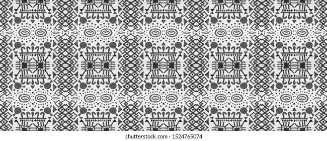 Boho Repeat. Bohemian Seamless Print. Ebon Ikat Chevron Wallpaper. Milky Vintage Organic Style. Homogeneous Modern Element. Black Boho Repeat.