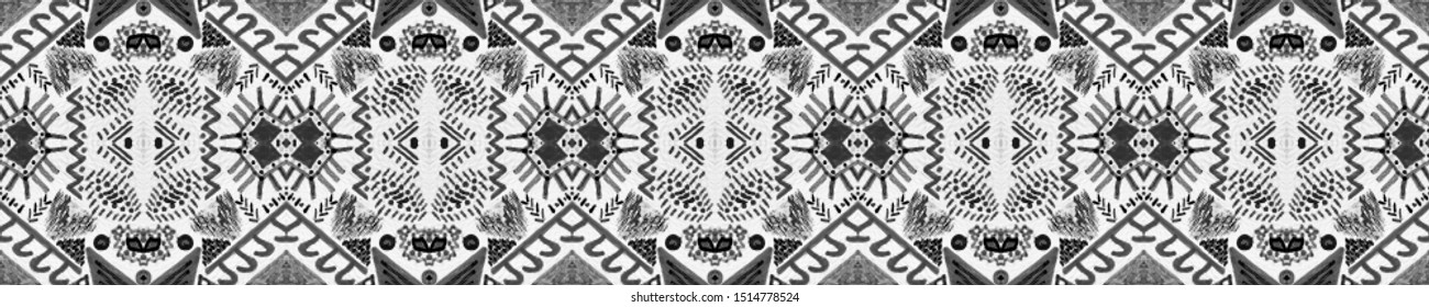 Boho Repeat. Traditional Seamless Pattern. Charcoal Zigzag Navajo Background. White Trendy Abstract Decor. Homogeneous Arabic Design. Black Boho Repeat.