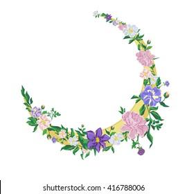 boho style illustration. flowers and moon