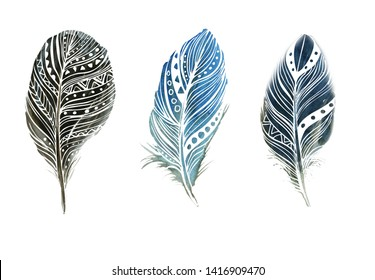 Boho style. Isolated feathers on white background. Illustrations for cards, invitations, posters, fabrics, clothes.