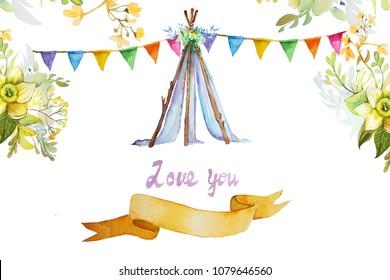 Boho, Tipi, Tent Wedding invitation