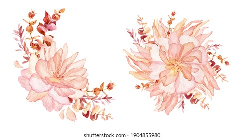 Boho wedding Floral bouquet clipart - watercolor modern clipart eucalyptus leaves and rose flowers, delicate romantic style